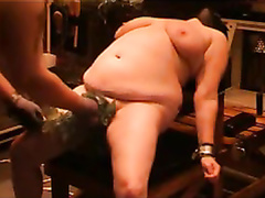 Chubby cracker in the bondage play with her partner