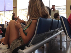 Magnificent blonde sweetheart at the airport