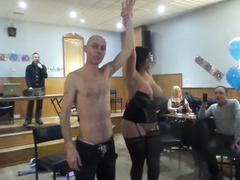 Busty wench goes naked at the birthday party