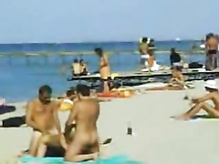 Amazing threesome sex on the beach of KaZantip