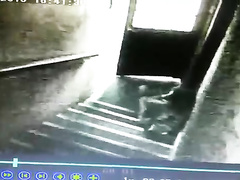 Desperate girl caught peeing on the stairs