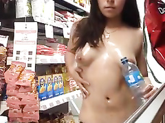 Fascinating Mexican flasher decides to masturbate in the store